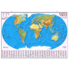Карта Світу загально-географічна 1:22000000 картон ламінація планка