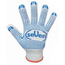 Перчатки трикотажные Seven белые с ПВХ в синюю точку 78410б