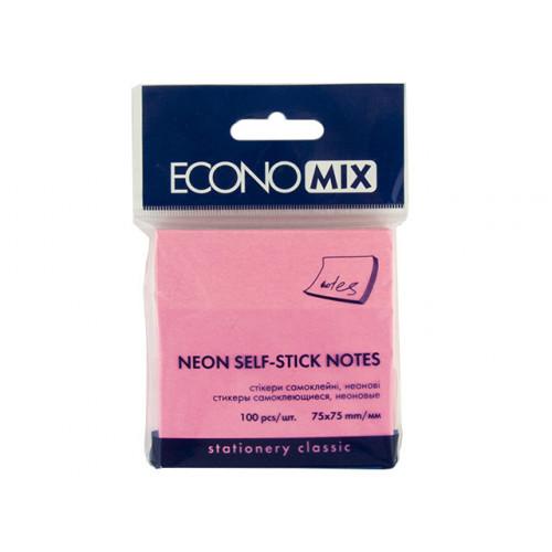 Блок для заміток з липким шаром 76х76мм Economix неоновий малиновий 100 аркушів (12) Е20944-47