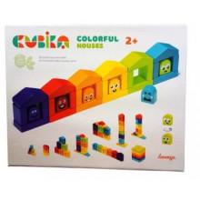 Игрушка деревянная Цветные домики, конструктор Cubika №14866
