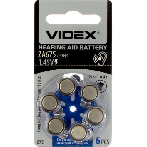 Батарейка Videx ZA675/PR44/6bl для слухового аппарата (6) (60) аппарата (6) (60)