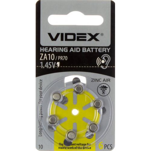 Батарейка Videx ZA10/PR70 6 bl для слухового аппарата (6) (60)