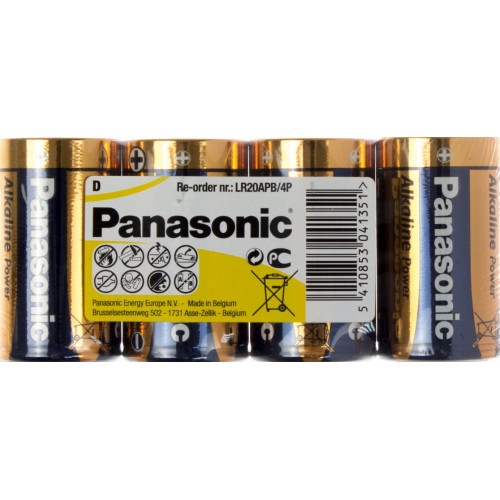 Батарейки Panasonic Alkaline Power LR-20 пленка 4 шт