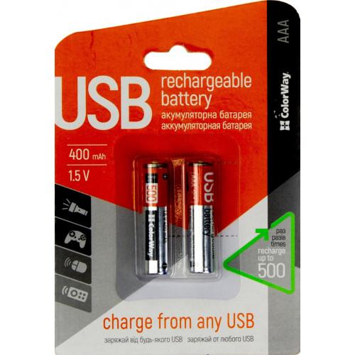Аккумуляторы ColorWay AAA micro USB (1.5B, 400 mAh) Li-Polymer блистер 2 шт