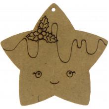 Звезда с омелой 5х5 см МДФ (5)