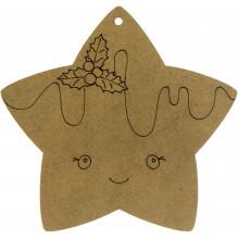 Звезда с омелой 10х10 см МДФ (5)