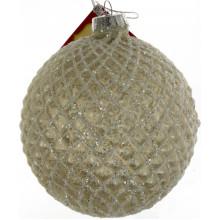 Елочный шар стекло 10 см, ледово белый (6) (48) №NY15-580 /Bonadi/
