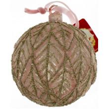 Елочный шар стекло 10 см,с декором,пудра (4) №874-131 /Bonadi/