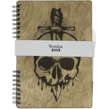 Блокнот A5 деревянный Skull Breidon
