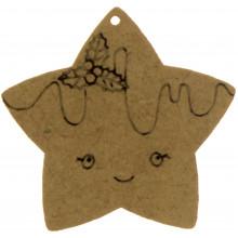 Звезда с омелой 3х3 см МДФ (5)