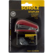 Степлер 10 Scholz 8 аркушів міні червоний +1000 скоб (24) 4035