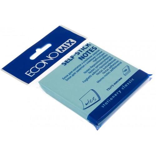 Блок для заміток з липким шаром 75х75 мм 100 аркушів блакитний Economix (12) E20932-11