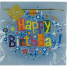 Серветки столові ТМ Luxy 3-х шарові (20 шт) Щасливий день синя (15)