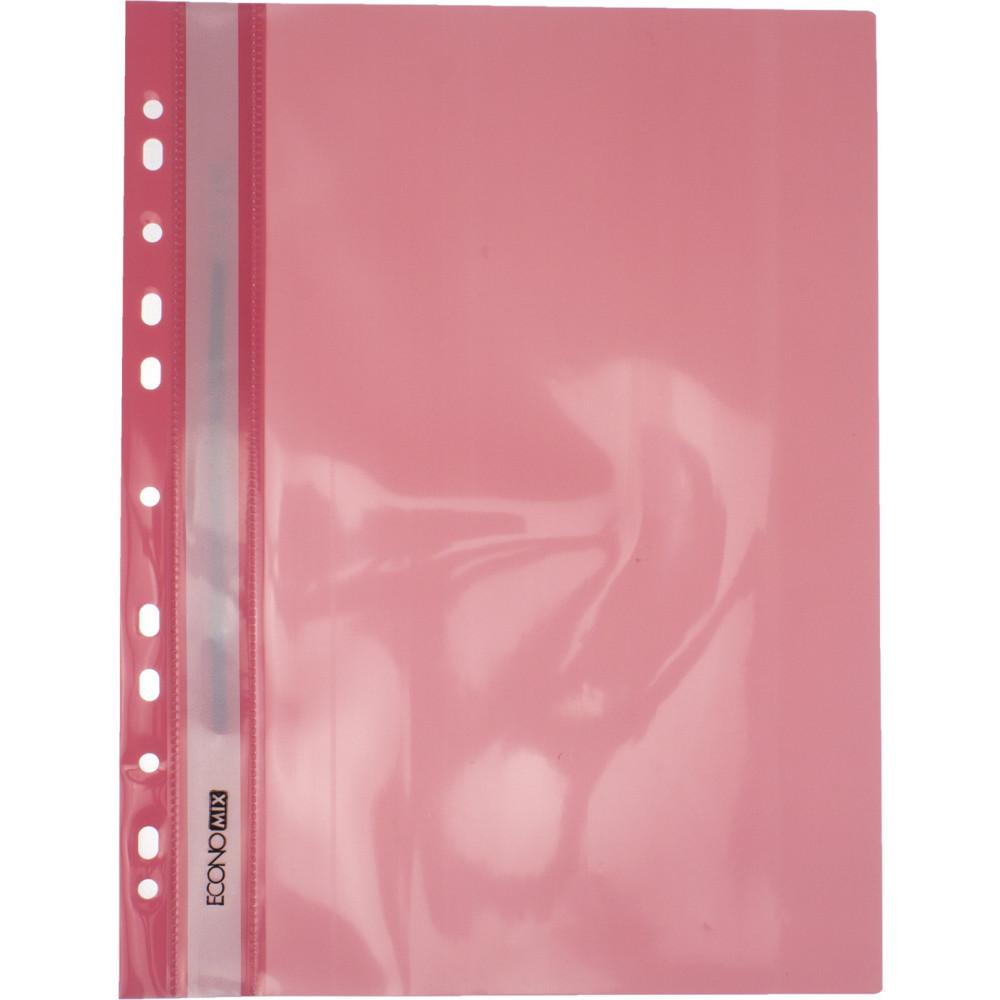 Папка-скоросшиватель Economix A4, с прозрачным верхом, с перфорацией, глянцевая, розовая (10) (300) №E31510-89