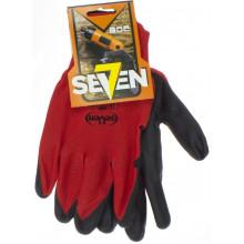 Перчатки синтетические Seven красные с черным нитриловым покрытием (12) 69712