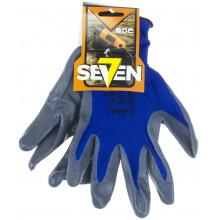 Рукавиці синтетичні Seven сині з сірим нітриловим покриттям (12) 69051