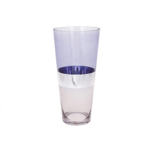 Ваза скляна Поллі Bonadi h-35 см блакитна з сірим (6) 591-285