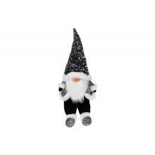 Игрушка мягкая декоративная Сидящий Гном 64 см, черно-белый в пайетках (1) (4) №877-090 Bonadi