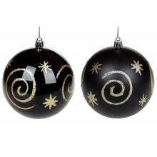 Куля пластикова 10 см,чорний з золотом,2 види (1) (12) (48) №898-158 Bonadi