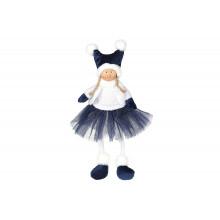 Игрушка мягкая декоративная Сидящая девочка Bonadi 43см, синяя с белым (16) №910-245