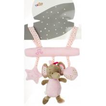 Подвеска с погремушкой и колокольчиком Baby mix Слоник розовый 22 см №11/4959/3