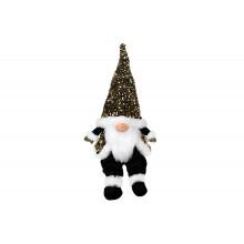 Игрушка мягкая декоративная Сидящий Гном Bonadi 64см, черно-белая в пайетках (1) (16) №877-098