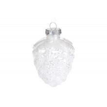Прикраса Шишка 10см, сріблясто-біла Bonadi (48) (288) №787-249