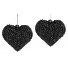 Набір прикрас Серце 6см, 2шт, чорні з глітером Bonadi (36) (288) №113-542