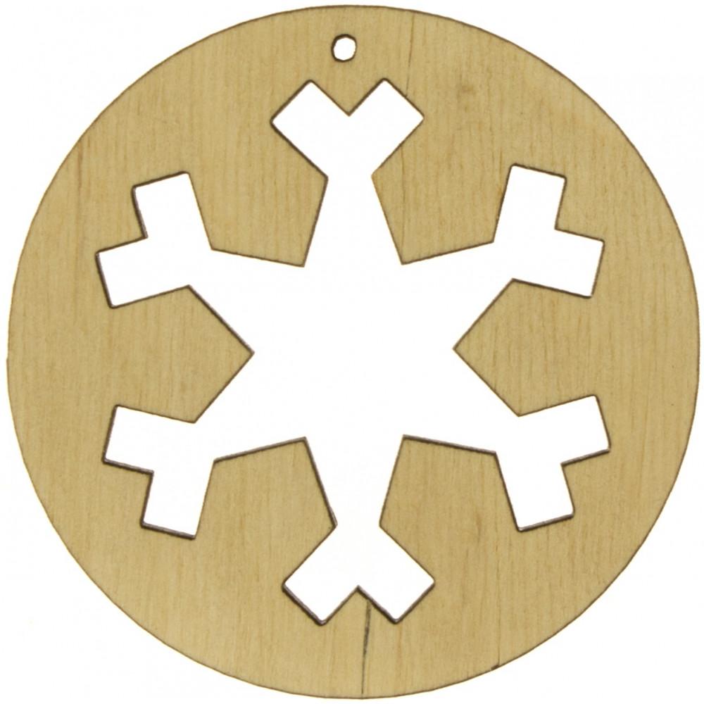 Круг с снежинкой 7х7см фанера (5)