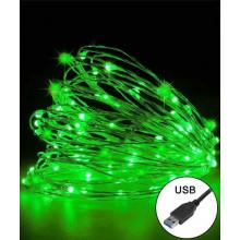 Гирлянда электрическая String Роса 100 LED и USB, зеленый 10 м (50) (1) №1901-040