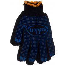 Перчатки трикотажные Seven черные с ПВХ в синюю точку 78411