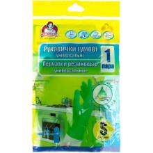 Перчатки резиновые универсальные Помощница S ароматизированные зеленые (144) №6/9029