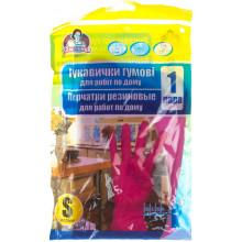 Перчатки резиновые универсальные Помощница S розовые (144) №6/8985