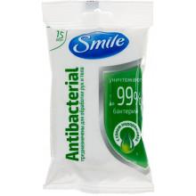 Салфетки влажные Smile 15 шт Antebacterial с подорожником 1953
