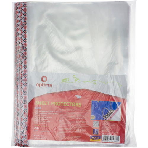 Файл А4+ Optima Lux 40мкм глянцевий з кольоровим орнаментом 100шт в пачці (20 пачок/ящик) O35106
