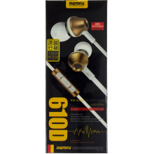 Навушники вакуумні металеві Remax гарнітура, регулятор гучності gold, мікрофон RM-610D