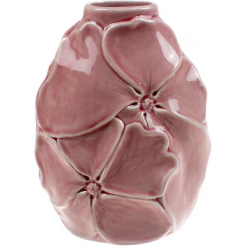 Ваза керамическая Bonadi Цветы h-22,5 см, розовая (9) №727-258