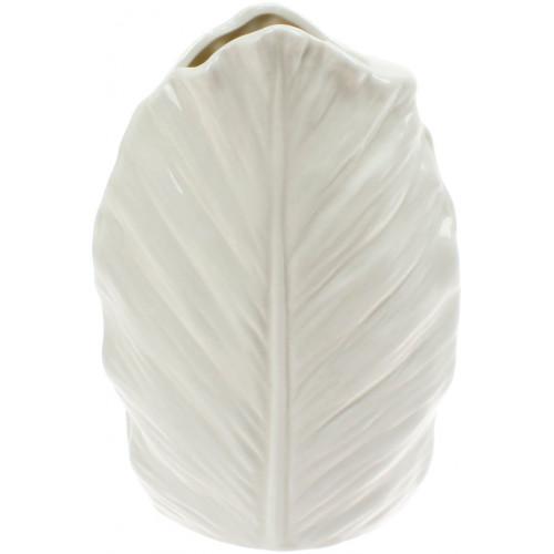 Ваза керамическая Bonadi Лист h-18,5 см, белая (24) №727-214