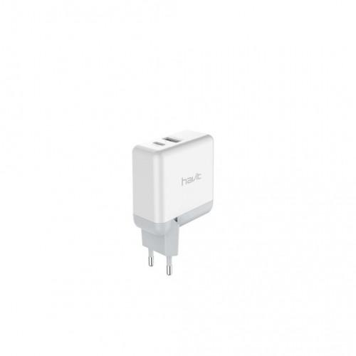 Зарядное устройство Havit для мобильного телефона 2 USB, micro USB white №HV-H116