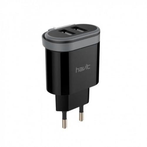 Зарядное устройство Havit для мобильного телефона 2 USB, Lightning cable black №HV-UC8809/7911