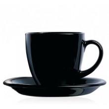 Сервиз чайный стекло 12 предметов 6 чашек 220 мл и 6 блюдец Luminarc Carine Black (6) 3813/P4672