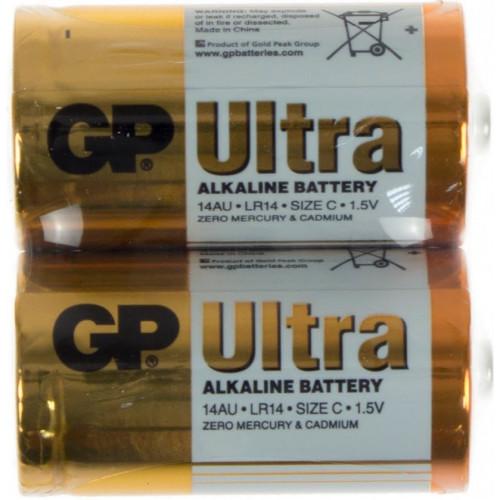 Батарейки GP Ultra 14AU-S2 LR-14 пленка 2 шт (12) (120)