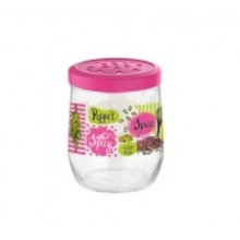 Банка стекло Renga Tosca dec pink 0,3 л с пластиковой крышкой (6) №131041P/3999
