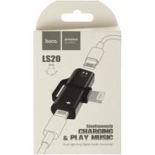 Перехідник Lightning To 3.5 mm & Lightning (F) Adapter — Hoco LS20 — Black/Breidon/