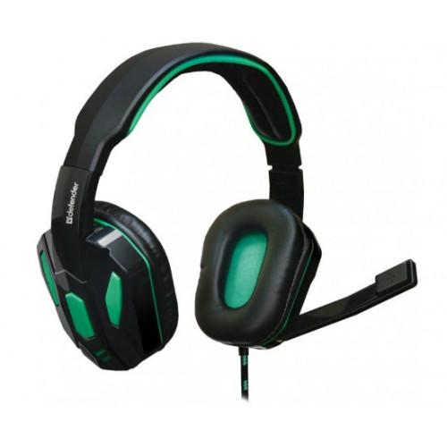 Наушники Defender Warhead G-275 2,5 м green/black, микрофон