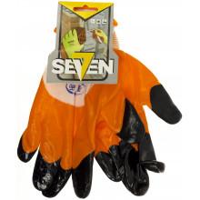 Перчатки синтетические Seven белые с оранжево-черным нитриловым покрытием (12) 69524