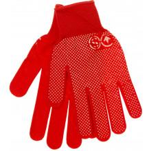 Рукавиці синтетичні Seven червоні з ПВХ крапкою (12) (240) 69060