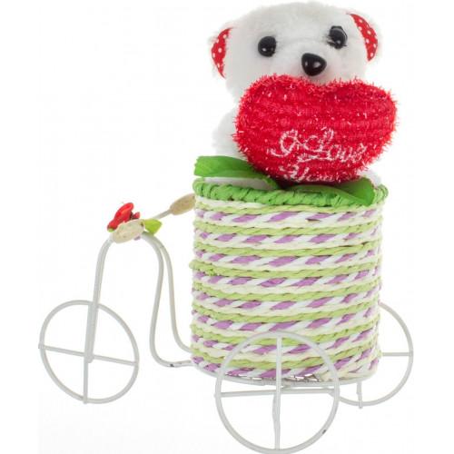 Сувенир Мишка на велосипеде микс №9270
