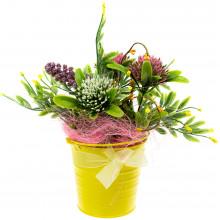 Композиція в декоративному відерці Квіти асорті 10 см