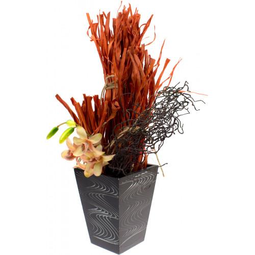"""Композиция в декоративном кашпо """"Сухоцветы с орхидеей"""" 15 см"""